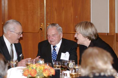 At the COUR dinner Friday, Univeristy President Drew G. Faust and Harvard Corporation Senior Fellow James R. Houghton '58 flank philanthropist David Rockefeller '36, whose $100 million gift was announced that morning.