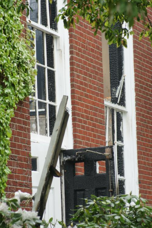 The fire spared little at the church, with only the brick exterior escaping major damage.