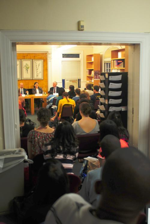 Representatives from NYU, Stanford, Duke, and Cornell law schools discussed the law school admissions process at the Office of Career Services. The event had a higher than expected turnout with students trailing outside of the forum room and far into the