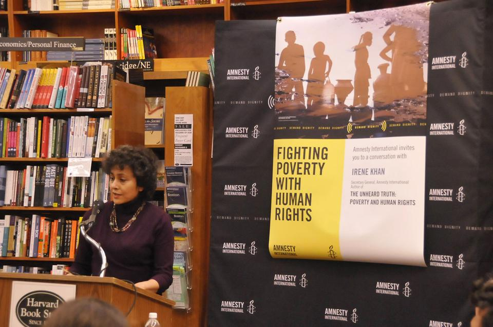 """Poverty Activist Irene Khan, Secretary General of Amnesty International, discusses her new book """"The Unheard Truth: Poverty and Human Rights"""" at the Harvard Book Store.  Khan urged audience members to consider poverty as a serious human rights violation."""