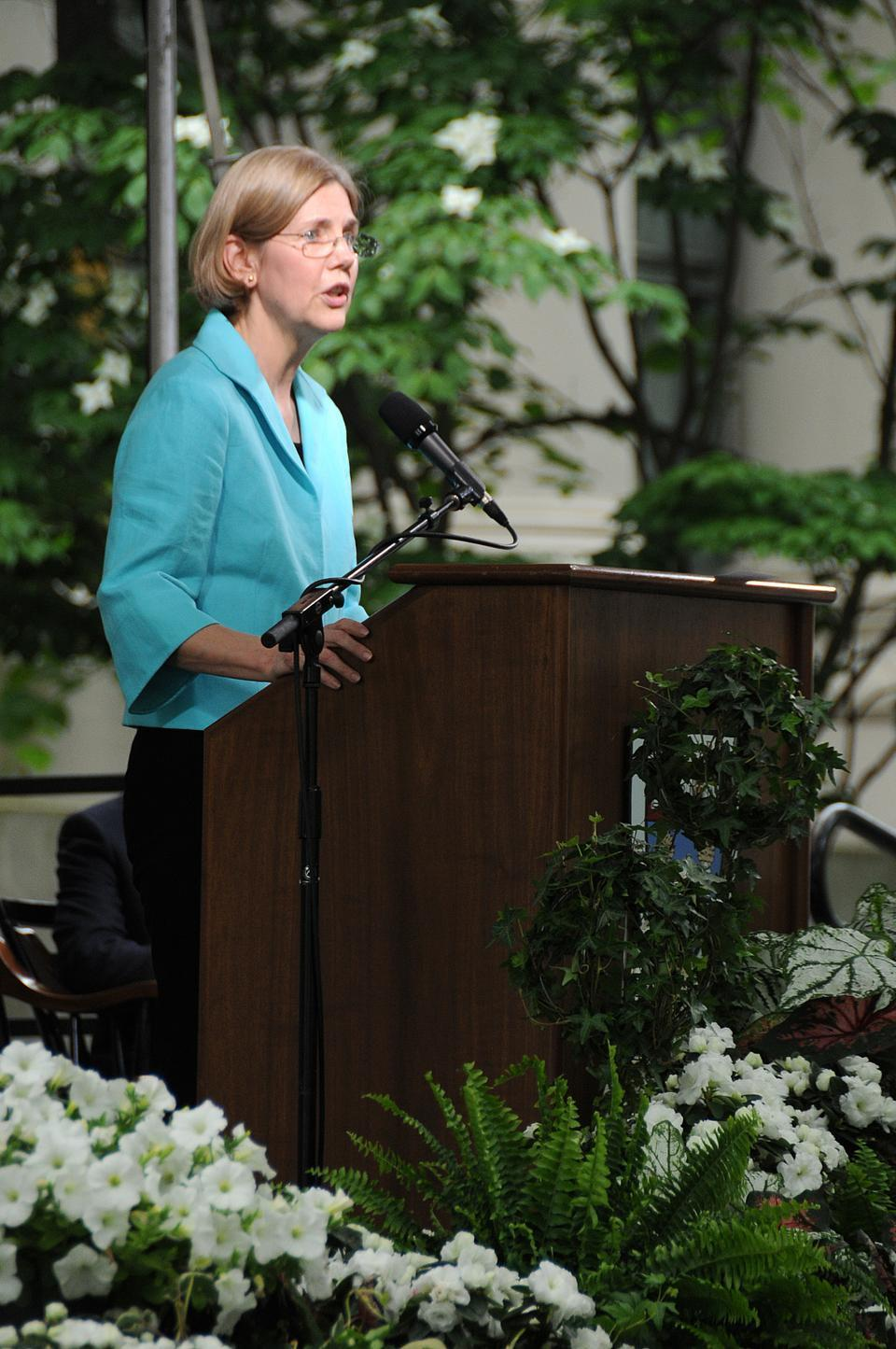 Harvard Law School Professor Elizabeth Warren speaks to the Harvard Law School Class of 2009 during its Class Day Exercises in June 2009.