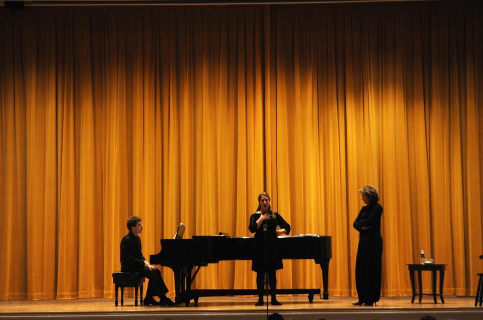 "Renée Fleming directs a Harvard student vocalist during a masters class. Known as ""the people's diva,"" this two-time Grammy Award winner is one of the most beloved and celebrated musical ambassadors of our time. Fleming gave advice to several students during the class, while audience members listened and asked questions."