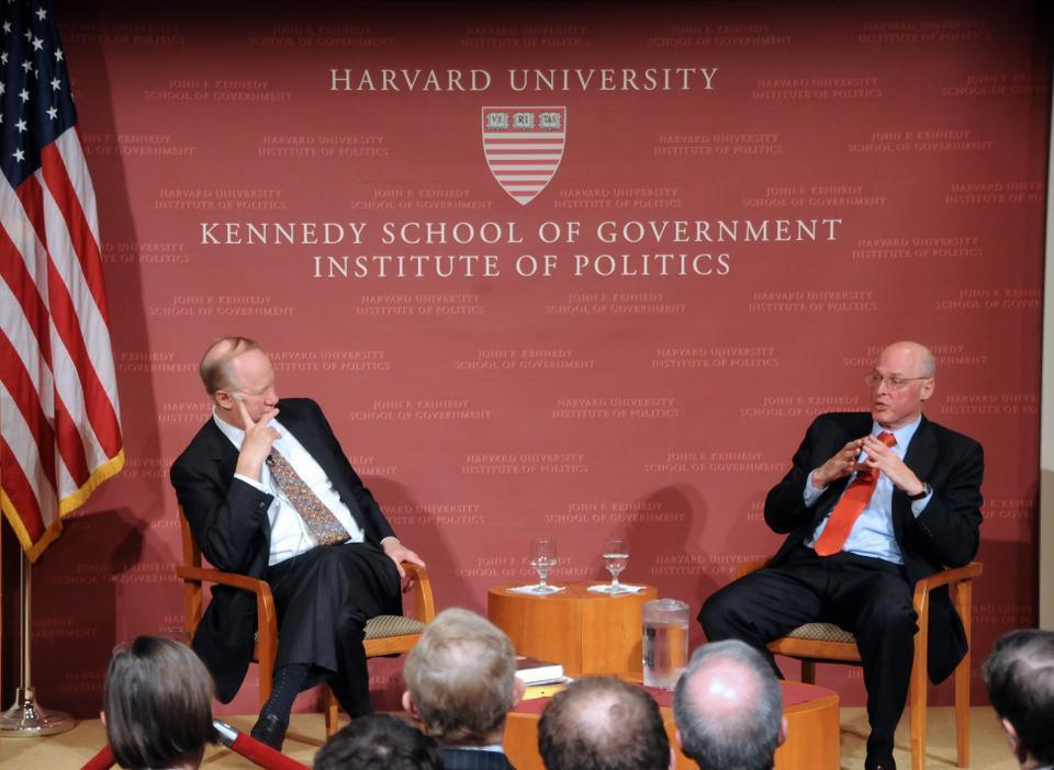 Henry M. Paulson Jr., former Secretary of the Treasury, speaks about decision making during the financial crisis at the Institute of Politics Forum yesterday.