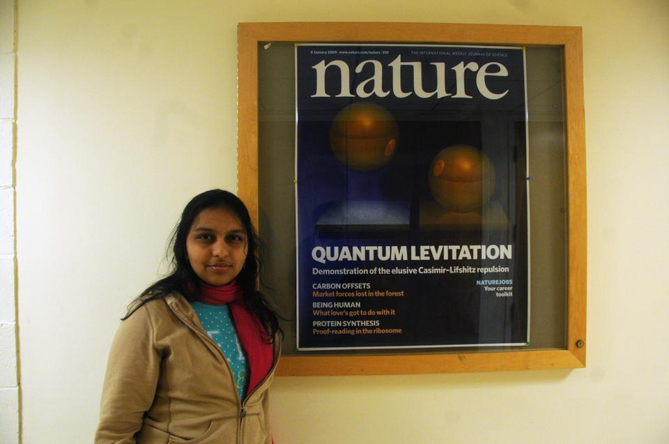 Hamsa Sridhar '12 is conducting research at the School of Engineering and Applied Sciences that seeks to levitate gold-coated micro-particles. The research made the front cover of the journal Nature.