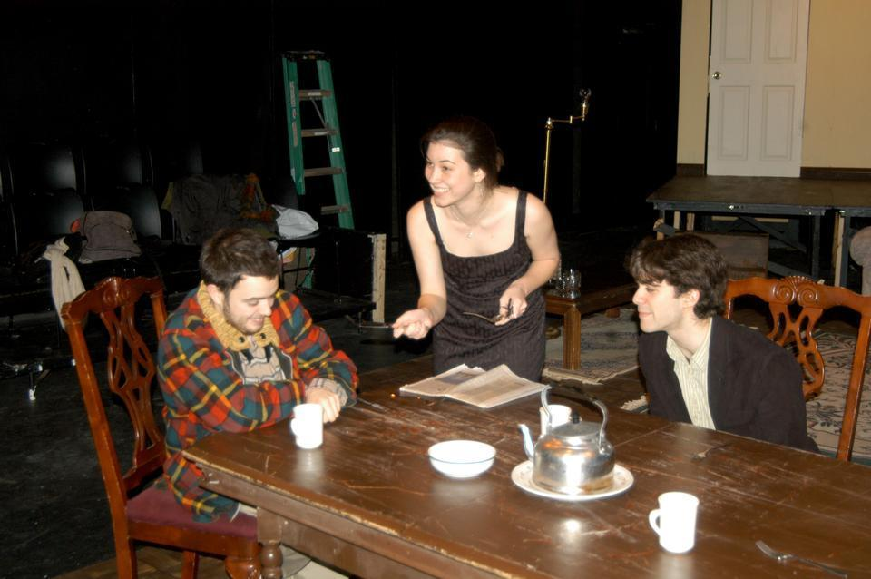 """Matthew J. DaSilva '12, Kelly E. Perron '11, and Stewart N. Kramer '12 rehearse for the upcoming production of """"Five Finger Exercise."""""""