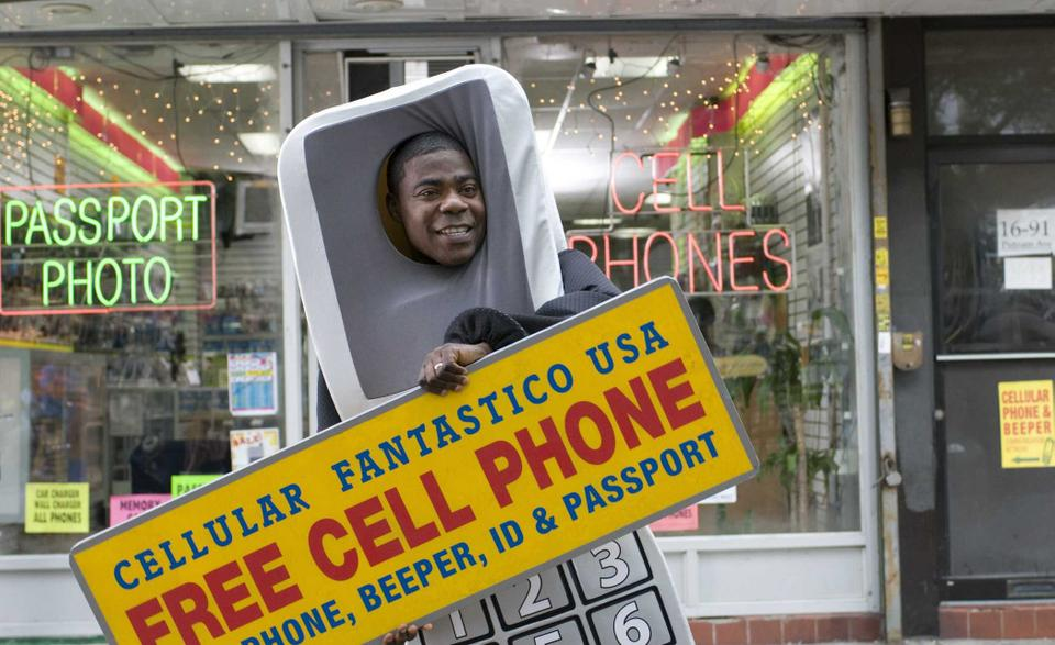 """Tracy Morgan goes undercover as a giant cell phone in """"Cop Out,"""" the new buddy comedy film directed by Kevin Smith and co-starring Bruce Willis."""