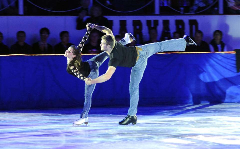"""World-class skaters Gretchen Donlan and Andrew Speroff perform at the 40th Anniversary of """"An Evening with Champions"""", Harvard's annual philanthropic skating exhibition for the Jimmy Fund and pediatric cancer research."""