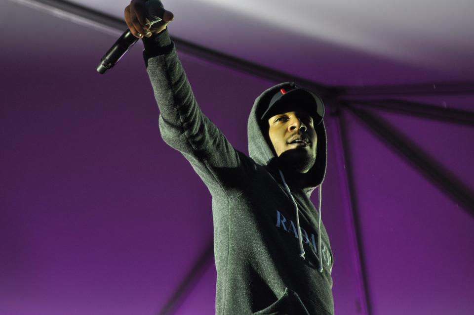 Singer and rapper Kid Cudi performs before a crowd of undergraduates at yesterday's Yardfest 2010.