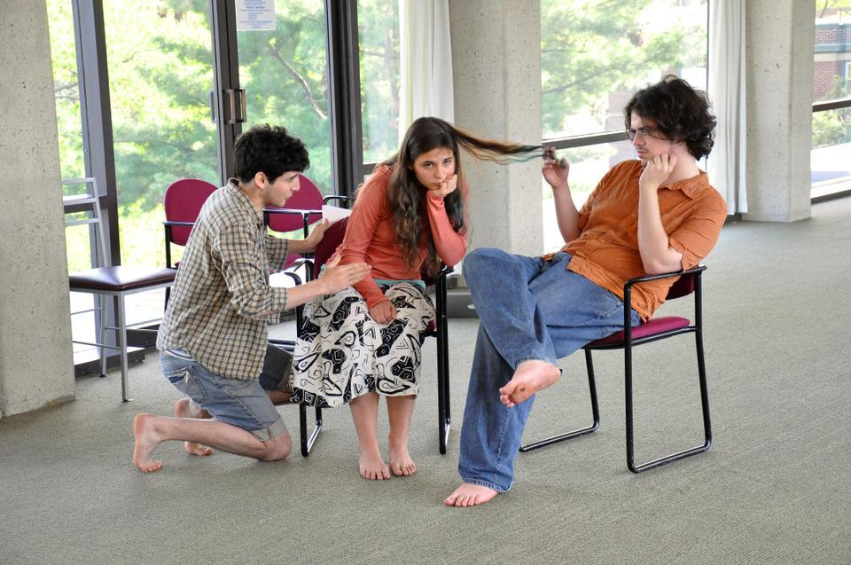 """Actors rehearse for """"Pericles"""", which will be playing at the Adams Pool through May 1."""