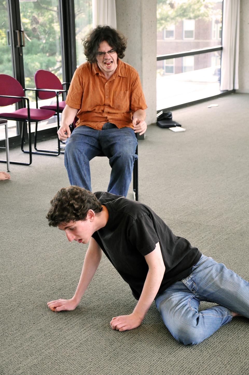 """Joseph G. Hodgkin '12 and Michael Handelman rehearse a scene for """"Pericles"""", which will be playing in the Adams Pool Theater through Saturday, May 1st."""