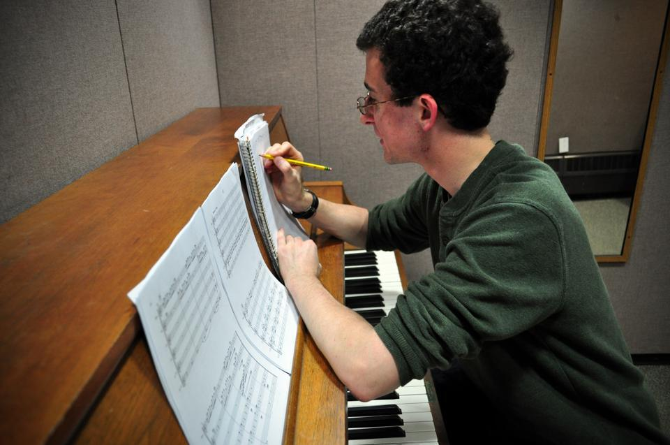 Zachary Sheets '13, a member of the Harvard Original Student Composers, works on his next great musical masterpiece. The Original Student Composers will host an even on Friday, April 30th during which they will highlight the music of student composers.