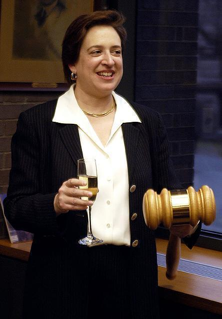 Kagan, seen during a champagne reception celebrating her appointment as HLS Dean in this April 2003 file photo, ascended to the position of dean only two years after receiving tenure.
