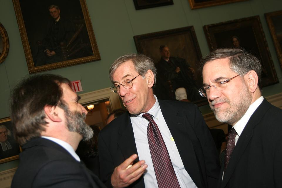 University Provost Steven E. Hyman (right), shown here with William L. Fash (left) and Robert D. Reischauer, stepped down in 2010.