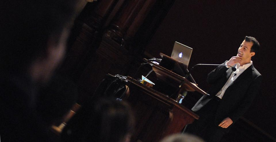 """Computer Science Lecturer David Malan presents during the """"Harvard Thinks Big"""" event on Feb. 11, 2010. Ten Harvard professors were given 10 minutes on the stage of Sanders Theatre to speak about their area of expertise."""