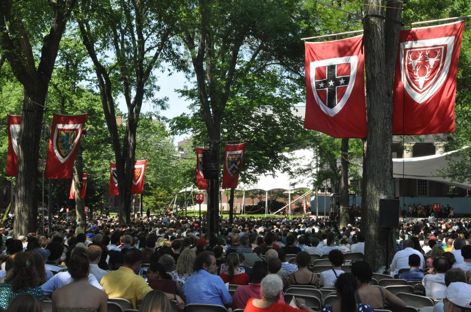 Friends, family members, and students of the Class of 2010 gather in Harvard Yard for the 2010 Class Day Exercises yesterday afternoon.