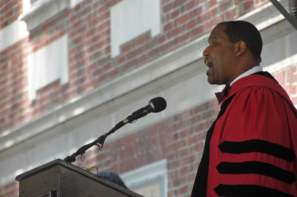 Winthrop Faculty Dean, Law School Professor Ronald S. Sullivan Jr., speaks at a diploma ceremony in 2010.