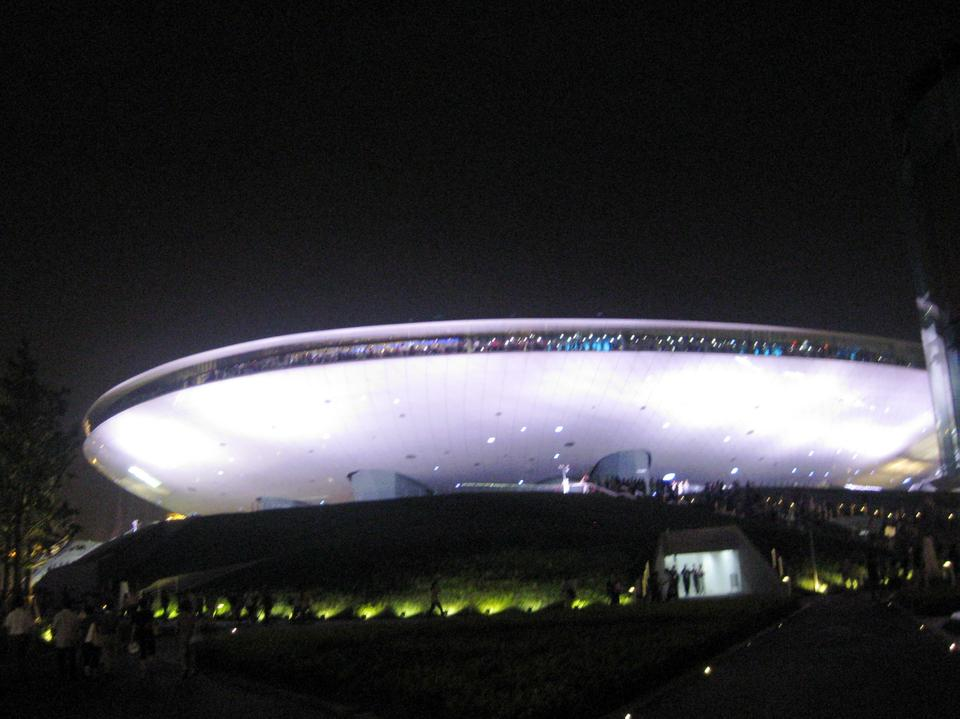 The Shanghai World Expo Cultural Center sits like a UFO in the middle of the Expo Park. It is one of the few Expo buildings that will be preserved at the site for future use.