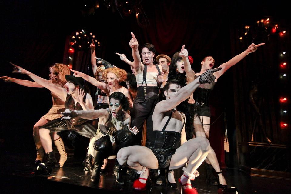 """Members of the Kit Kat Klub reach out to audience members in the American Repertory Theater's production of """"Cabaret,"""" which runs through October 30 at OBERON."""