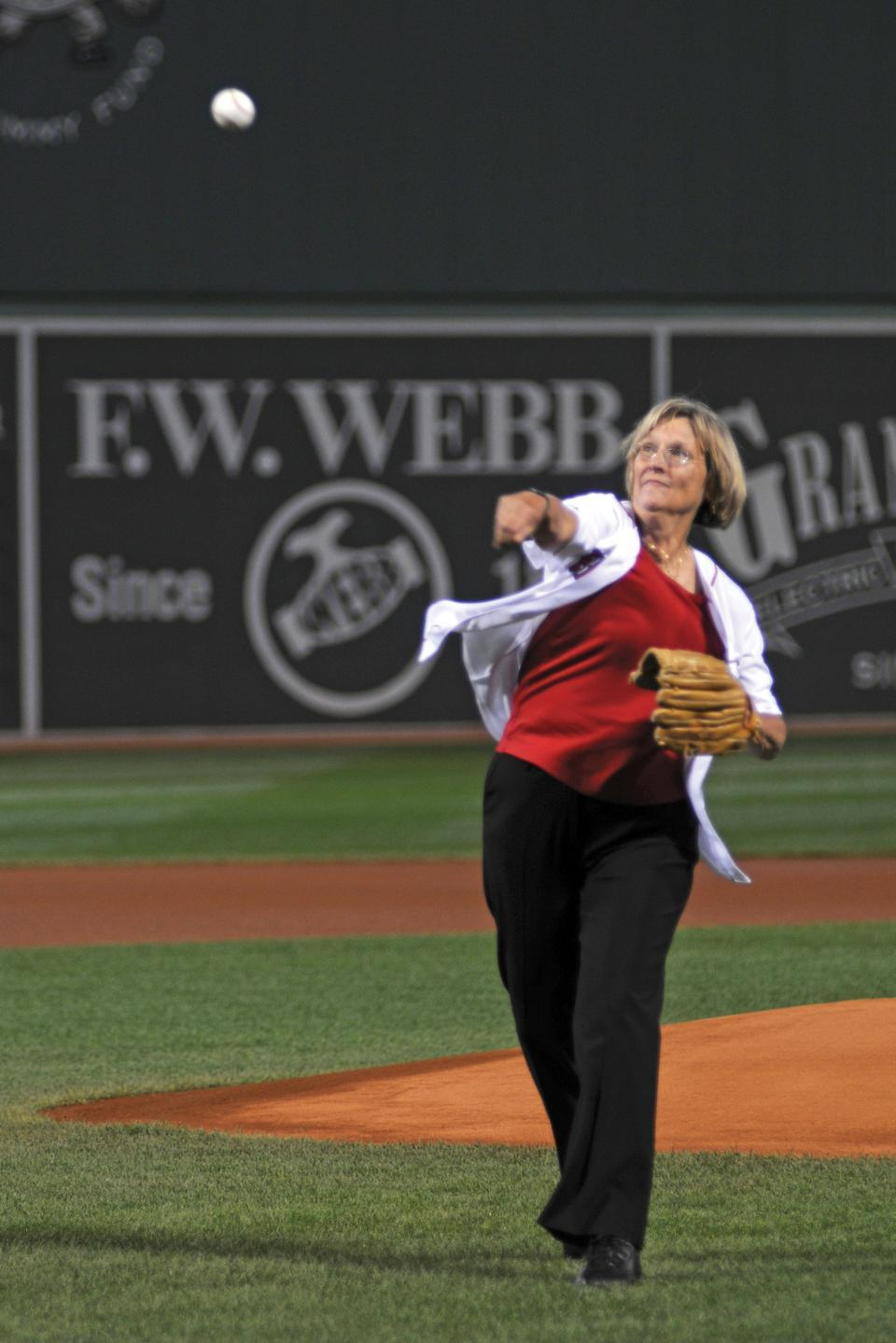 """During """"Harvard Night"""" at Fenway Park yesterday, the Boston Red Sox honored members of the Harvard community in front of a filled stadium. President Drew G. Faust, the Kuumba Singers, student athletes, and several college graduates were recognized before the Red Sox took on the Baltimore Orioles."""