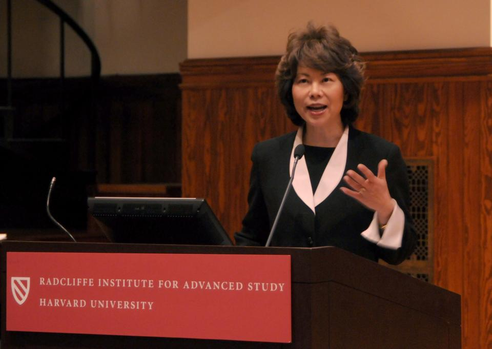 Former U.S. Secretary of Labor Elaine Chao addresses the opening crowds of the Annual Asian American Alumni Summit last Friday.