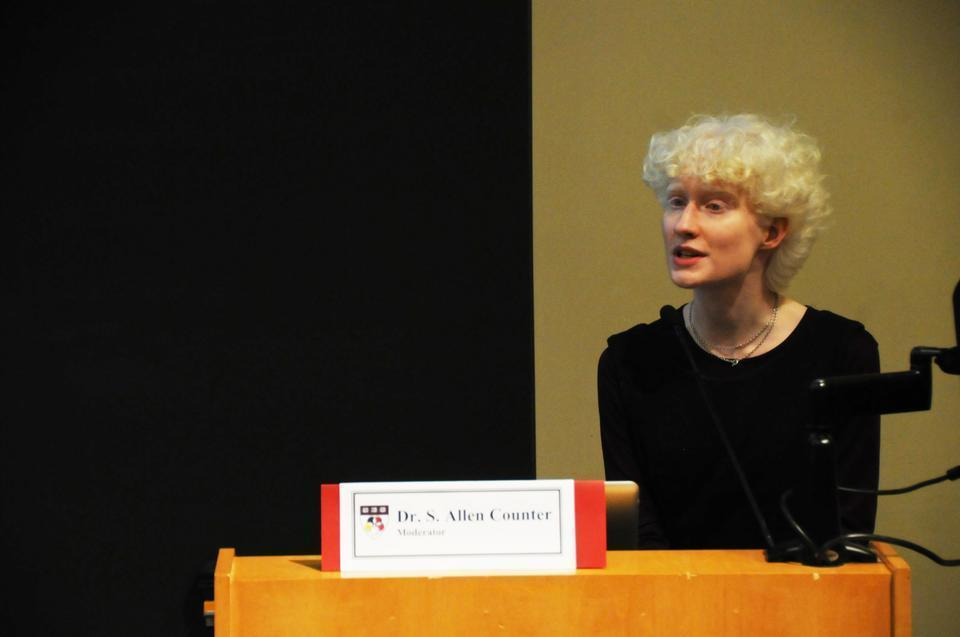 Marina M.A. Connelly '12 shares her experiences living with albinism in Australia and in the United States during a panel discussion sponsored by the Harvard Foundation that focused on the violence against people with albinism worldwide.