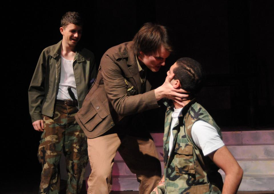 Antony (Caleb J.T. Thompson '14) comforts wounded soldier Scarus (Ghassan S. Gammoh '14).