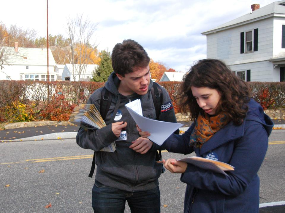 Gary Gerbrandt '14 and Allison Gofman '14 look over addresses to prepare for canvassing.