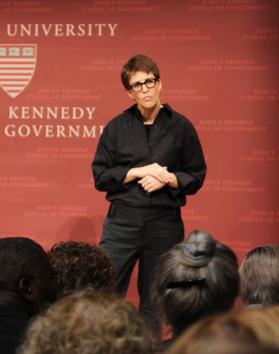 Rachel Maddow, host of MSNBC's The Rachel Maddow Show, speaks about the role of the media in the campaign process at the Institute of Politics last night.