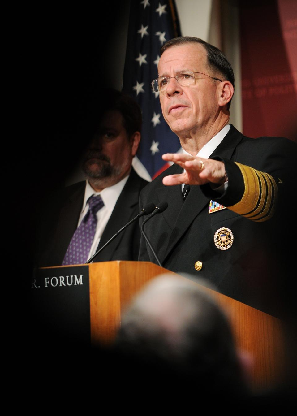 "Admiral Mike Mullen, Chairman of the Joint Chiefs of Staff, spoke at the IOP yesterday. Harvard President Drew Faust, in her introduction, made clear that she would welcome ROTC back to Harvard's campus if ""Don't Ask, Don't Tell"" were repealed."