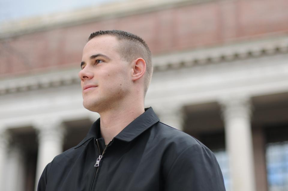 An atypical Harvard freshman, Marine Corps veteran Taylor B. Evans '14 lives off-campus with his wife and daughter and must fulfill military obligations in addition to attending class and completing homework.