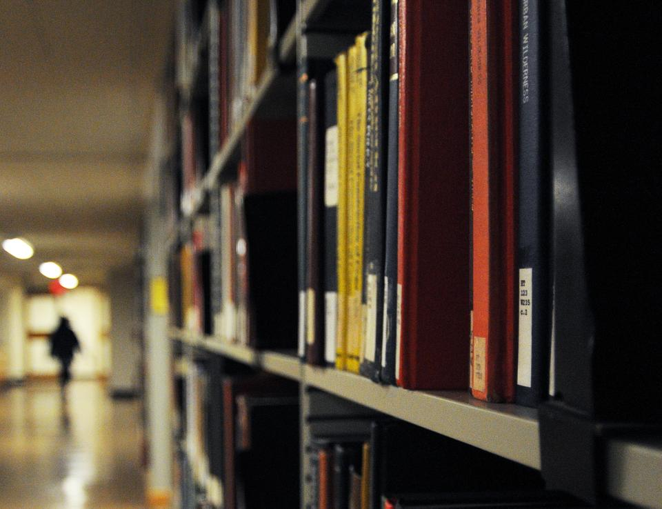 Level B of Lamont Library held the forty LGBT books that were defiled with urine last week.