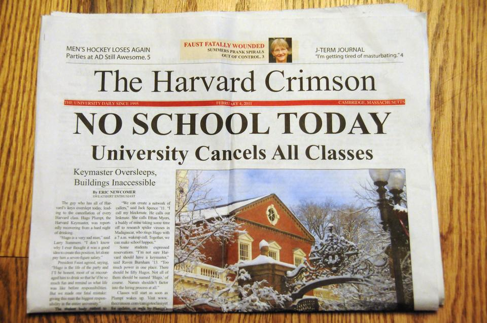 A prank issue by The Harvard Lampoon announces that all classes were canceled Friday due to an oversleeping keymaster.