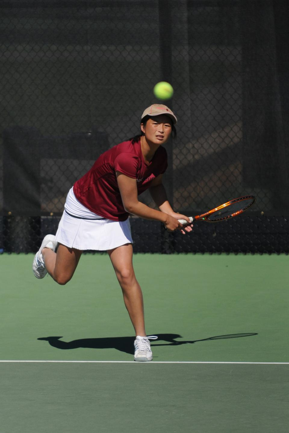 Though Harvard had already clinched the overall outcome, junior co-captain Holly Cao pulled out a three-set match against Boston College Saturday. The veteran, ranked No. 45 in the nation, had fallen at the No. 1 doubles spot to the Eagles' pair of Alex Kelleher and Olga Khmylev.