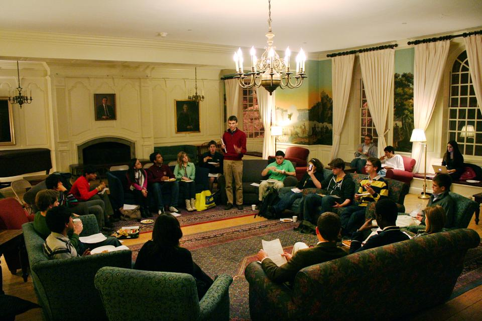 The Harvard Political Union discusses the ROTC's role in the Harvard community in Lowell House Junior Common Room Thursday night.  Students talk about the  implications of DADT's repeal on Harvard's official recognition of ROTC and what role  ROTC and military recruitment should play on Harvard's campus.