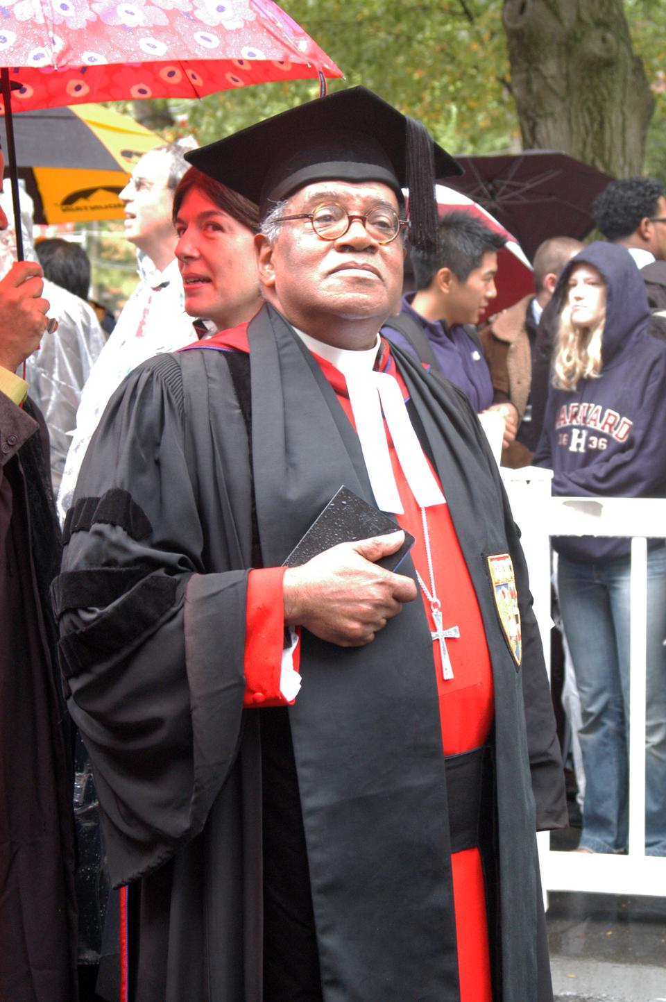 Reverend Peter J. Gomes, pictured at University President Drew G. Faust's 