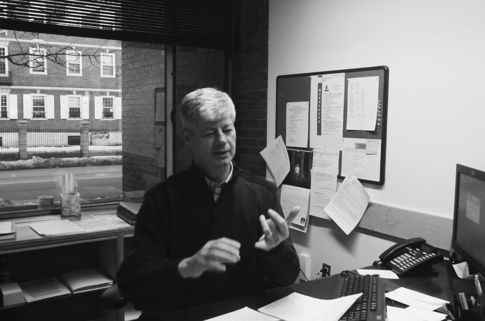 Stupak keeps abreast of affairs in D.C. from his desk in the IOP.