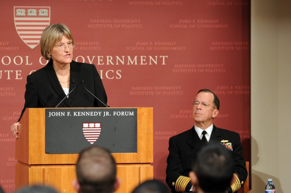 "University President Drew G. Faust will sign an agreement Friday with the Pentagon that will recognize Naval ROTC. The move fulfills a promise she made at a speech (above) with Chairman of the Joint Chiefs of Staff Admiral Mike Mullen in attendance. In her address she said that she would welcome back ROTC to Harvard with the repeal of ""Don't Ask, Don't Tell."""