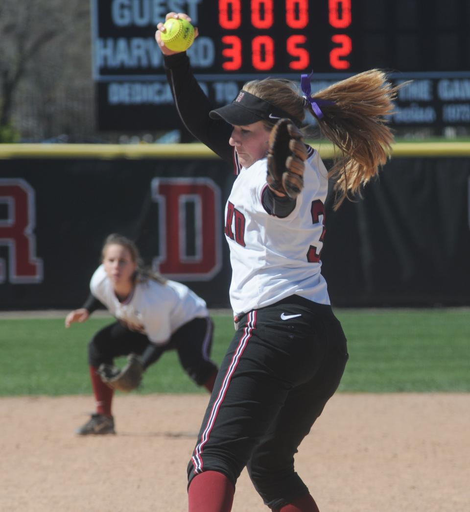 Junior pitcher Rachel Brown, shown above in earlier action, went 3-0 to start the season this weekend in the Crimson's trip to Florida. Harvard alternated wins and losses, starting out the road trip with a win over Seton Hall, 2-0, and ending off on a good note against Providence, 4-3.