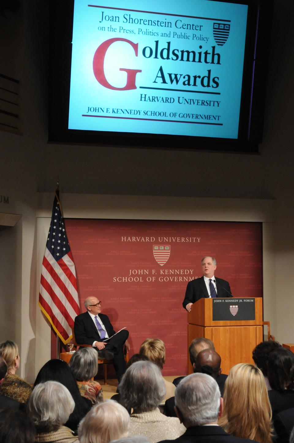 Frank Rich '71, longtime columnist for the New York Times who recently announced he is moving to New York Magazine, answers audience questions after receiving the Goldsmith Career Award for Excellence in Journalism at the Kennedy School.