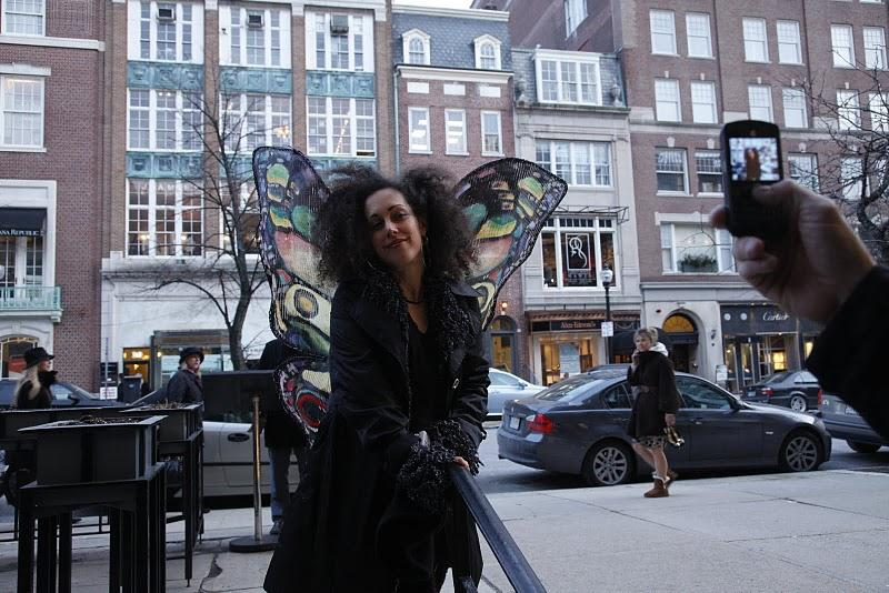 Cohen's project of a day: take to her wings to bring smiles to passers-by.