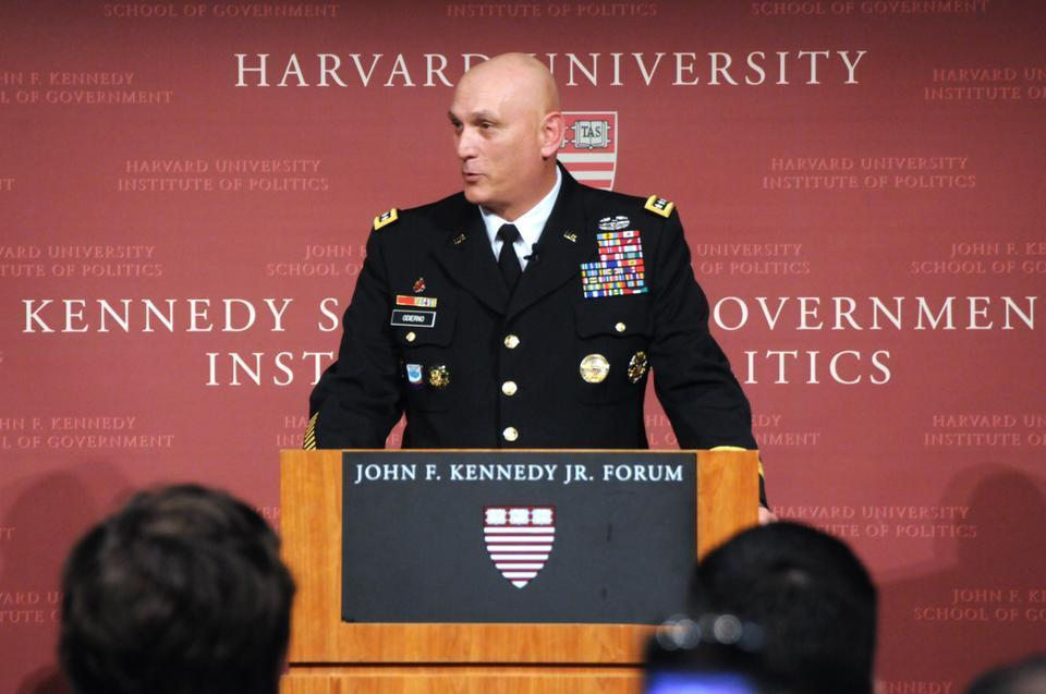 General Raymond T. Odierno speaks about the United States' military, its relationship with countries overseas, the role of technology in the army, and other aspects of the military at the IOP yesterday.