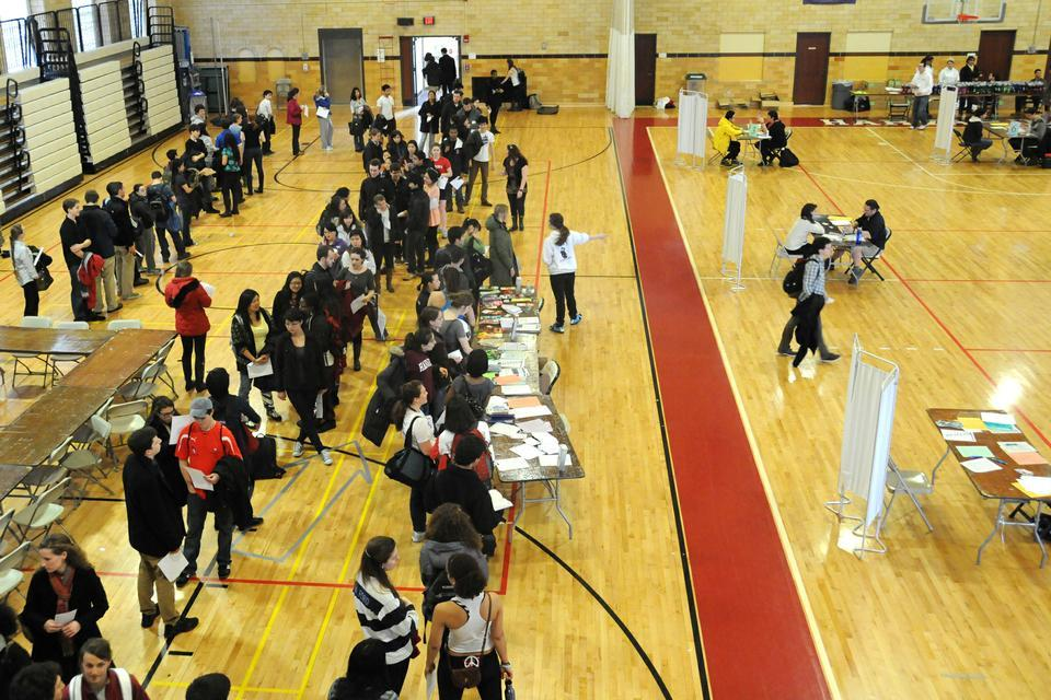 Hundreds of students wait in line to participate in the National Alcohol Screening Day hosted at the Malkin Athletic Center and to receive their free DAPA CamelBak water bottle