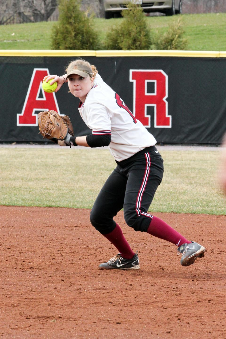 Co-captain Ellen Macadam boasts the best hitting average on the team at .411. This weekend, the senior showed her power at bat, homering off a pitch from Cornell's top hurler, Elizabeth Dalrymple.