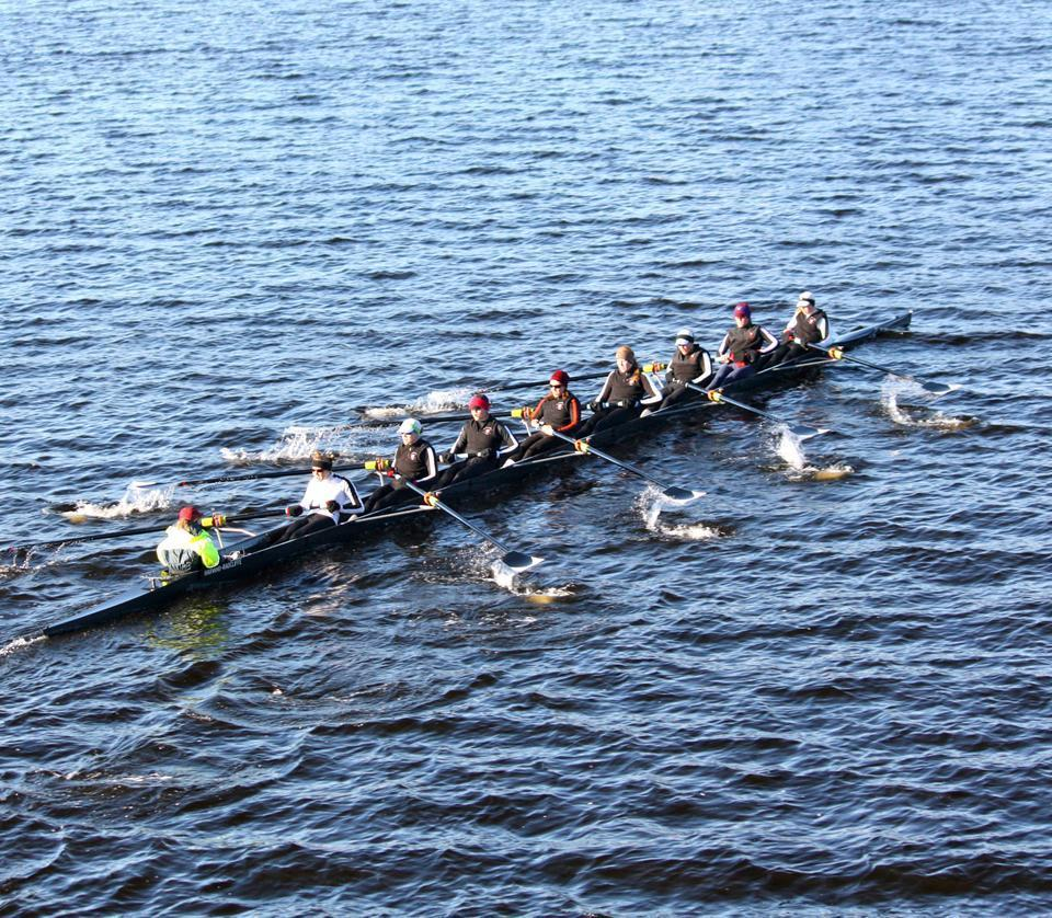 Shown here in earlier competition, the Radcliffe crews came away with mixed results after this weekend's races, as the lightweights defeated Georgetown to keep the Class of 2004 Cup for a third consecutive season, while the heavyweights were defeated by both Princeton and Cornell.