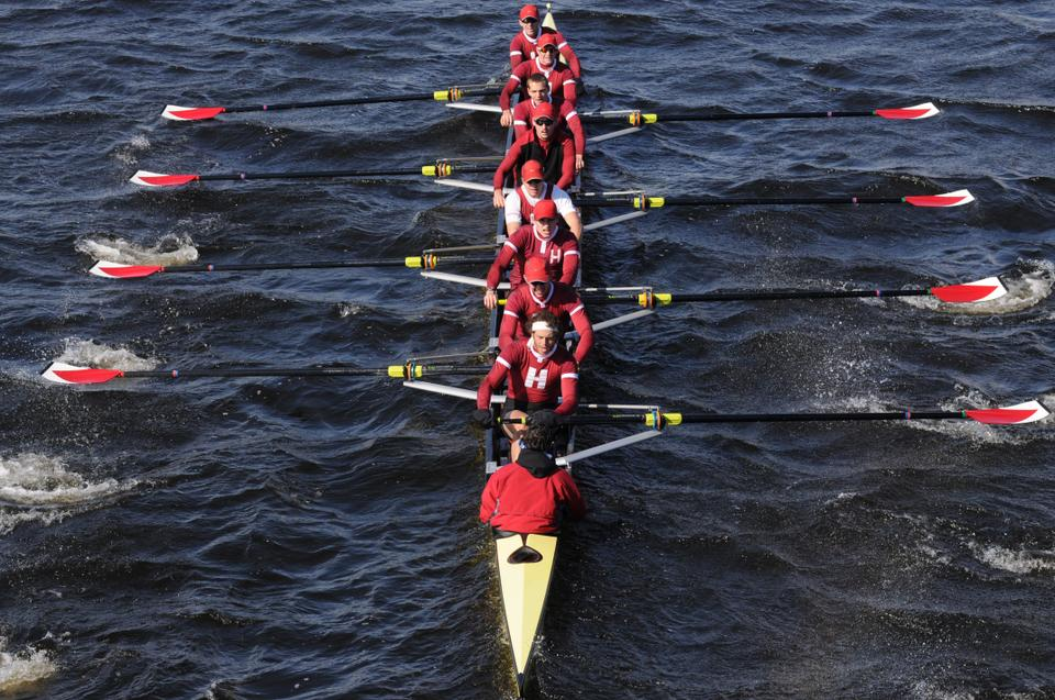 Shown here in an earlier race, the Harvard heavyweights swept rival Brown in five events on the Charles this weekend, taking back the Stein Cup and avenging its only varsity dual loss of last season. The lightweight crews found similar success against Georgetown and Penn, dropping only two races.