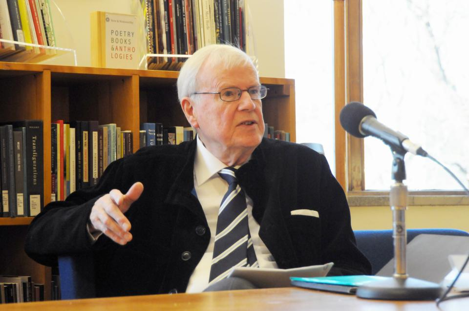 Former chairman of the Nobel Prize in Literature and current Nobel committee member Kjell Espmark discusses the Nobel process in the Woodberry Poetry Room Thursday afternoon.