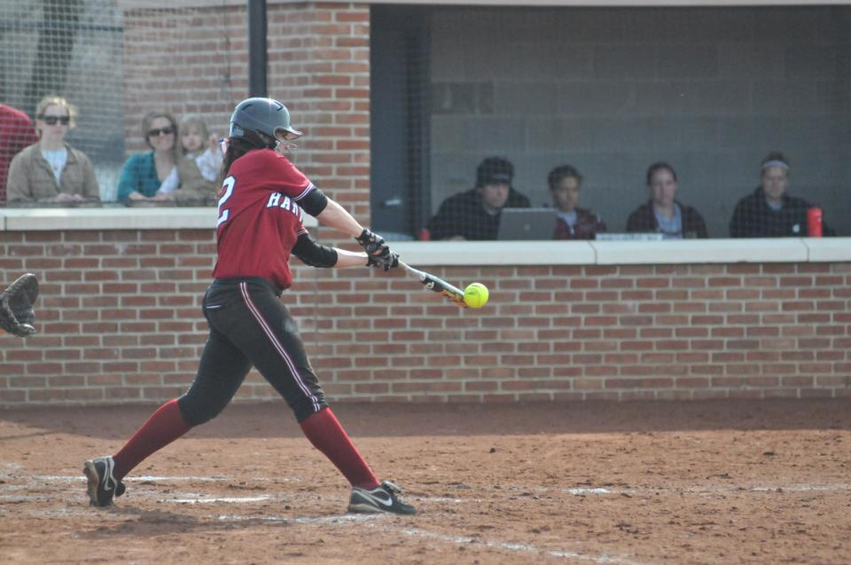 Freshman infielder Kasey Lange, shown here in earlier play, smacked seven hits and totaled eight RBI in four games this weekend at Brown. The rookie helped Harvard to a clean sweep of the North Division rival Bears, which totaled just four runs over the four-game set to the Crimson's 35.