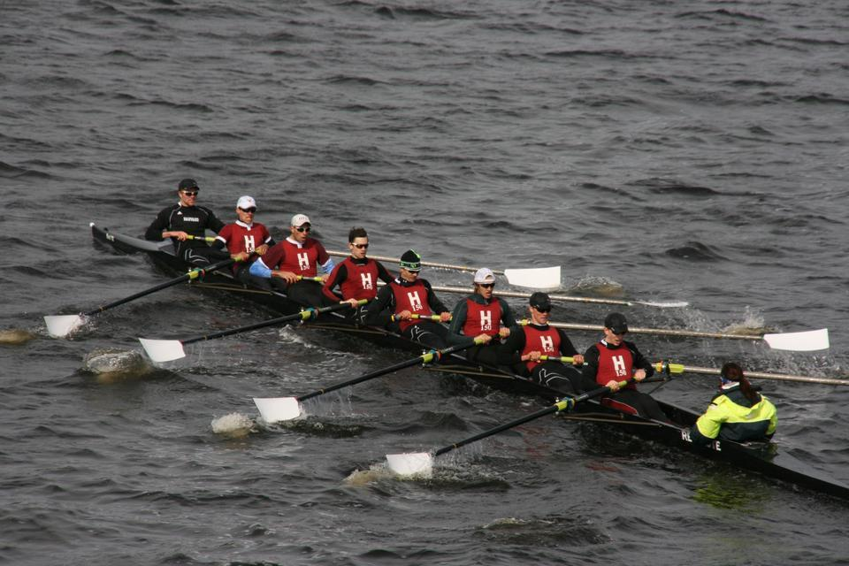 Shown here in earlier action, the No. 2 Harvard lightweight crew held its own against Navy on the Charles this weekend, as the Crimson's first varsity eight took home the Haines Cup for the third year running. The No. 3 heavyweight crew won each of its five races as well.