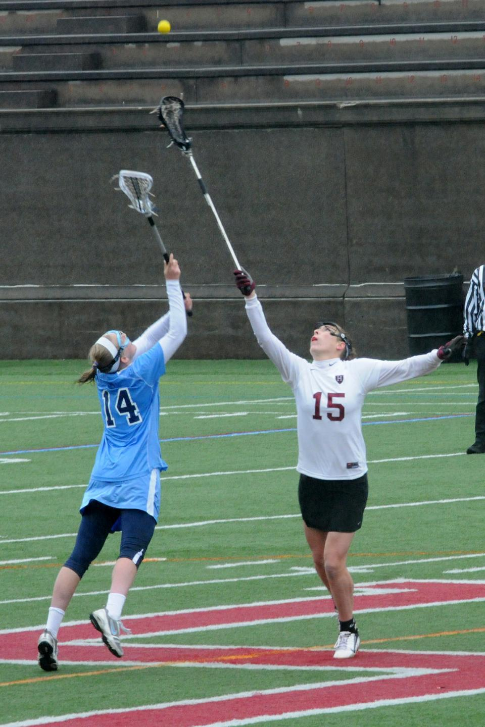 Sophomore attack Jennifer VanderMeulen had a game-high five goals Saturday afternoon to lead Harvard to a 15-9 win over Columbia at Harvard Stadium.