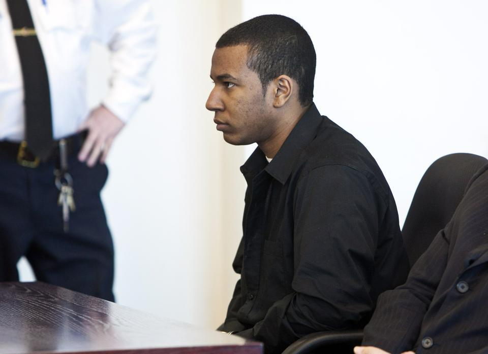 Shorty after being convicted of the murder of Justin Cosby, Jabrai Jordan Copney listens as the victim's mother reads a statement. Denise Cosby spoke of the pain of losing her 21-year-old son and asked Copney why he committed the crime.